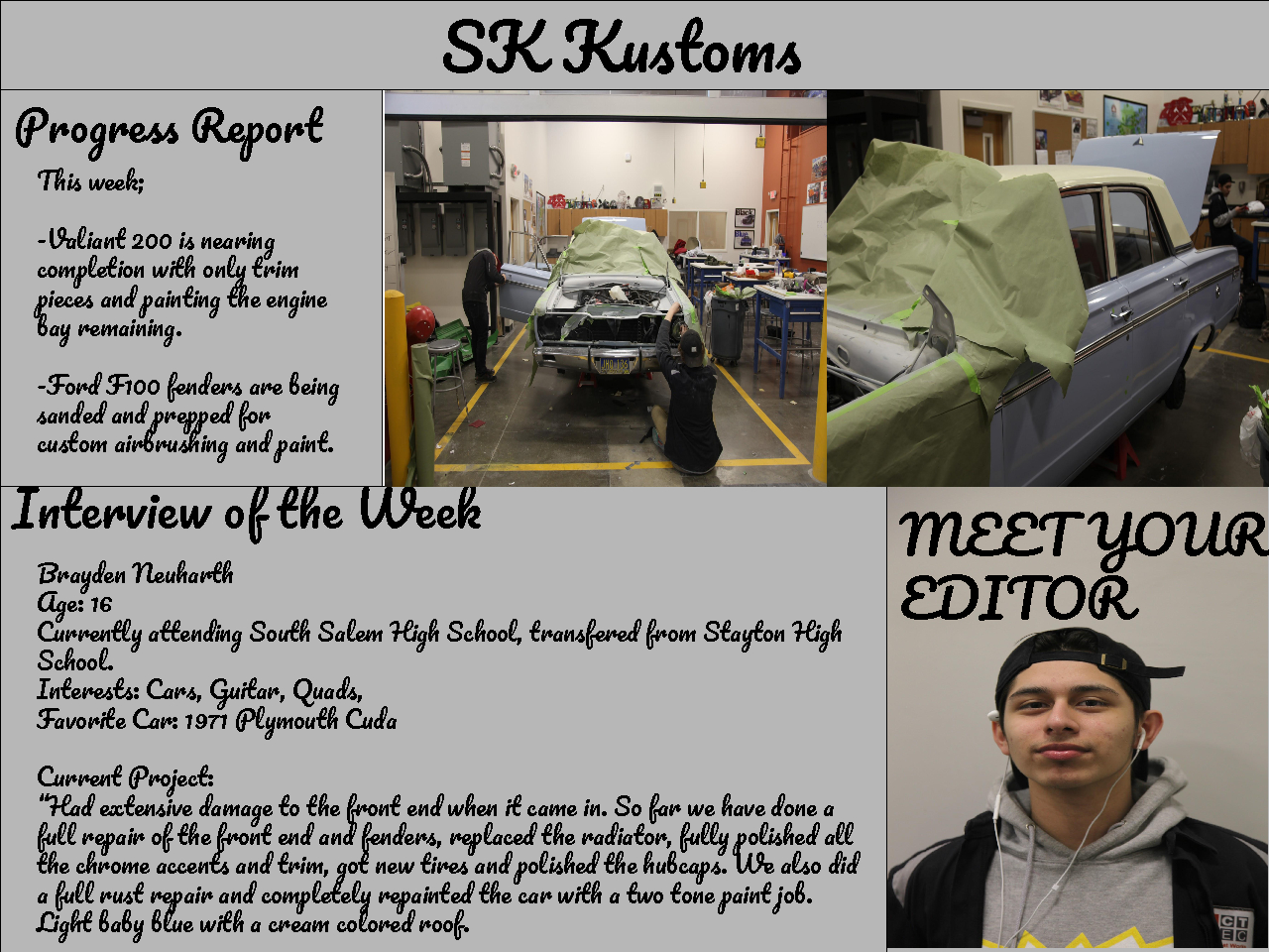 SK Kustoms Newsletter - Progress Report, Interview of the Week