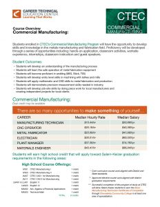 Course Overview: Commercial Manufacturing