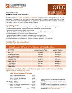 CTEC Course Overview: Residential Construction